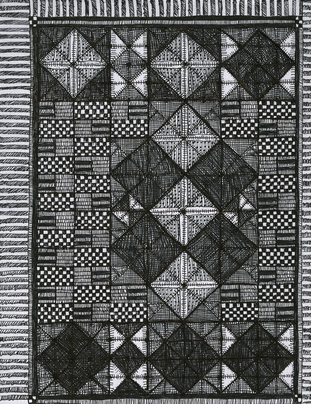 "Pen and Ink on Graph Paper, 2016, 8.5"" x 11"""