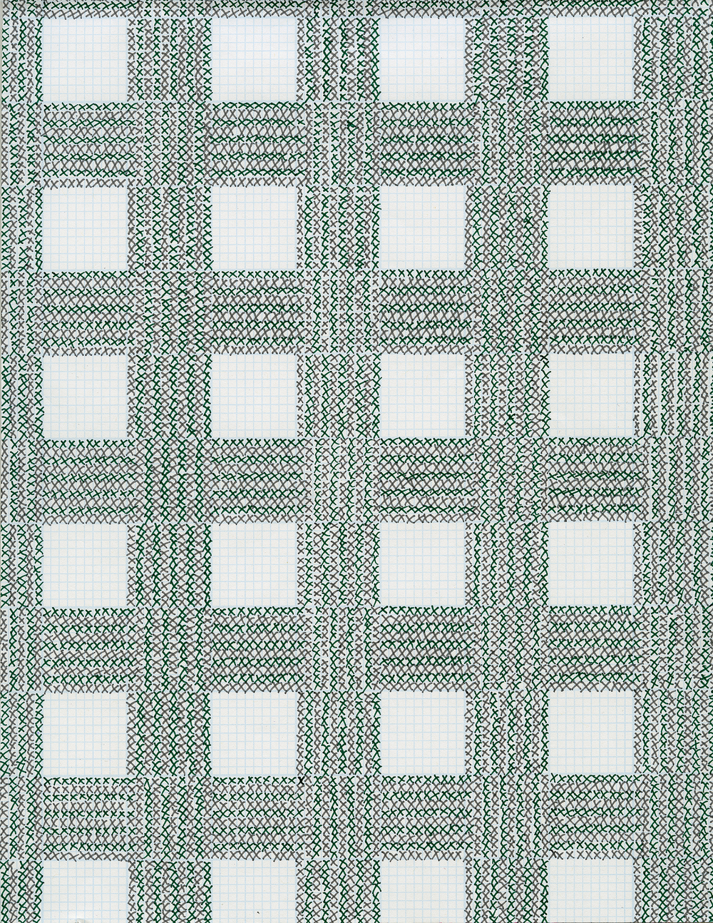 Pen and Ink on Graph Paper, 2016, 11 x 8.5 inches