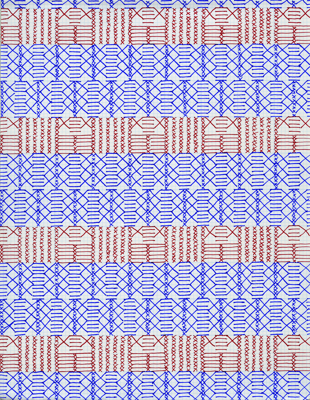 Pen and Ink on Graph Paper, 2016,11 x 8.5 inches