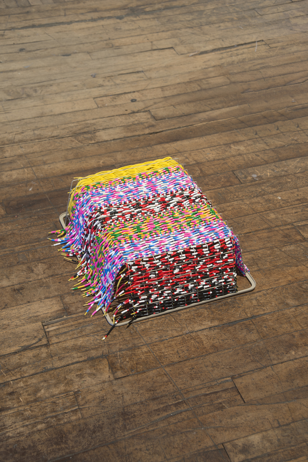 2016, Metal basket, shoelaces and plastic beads
