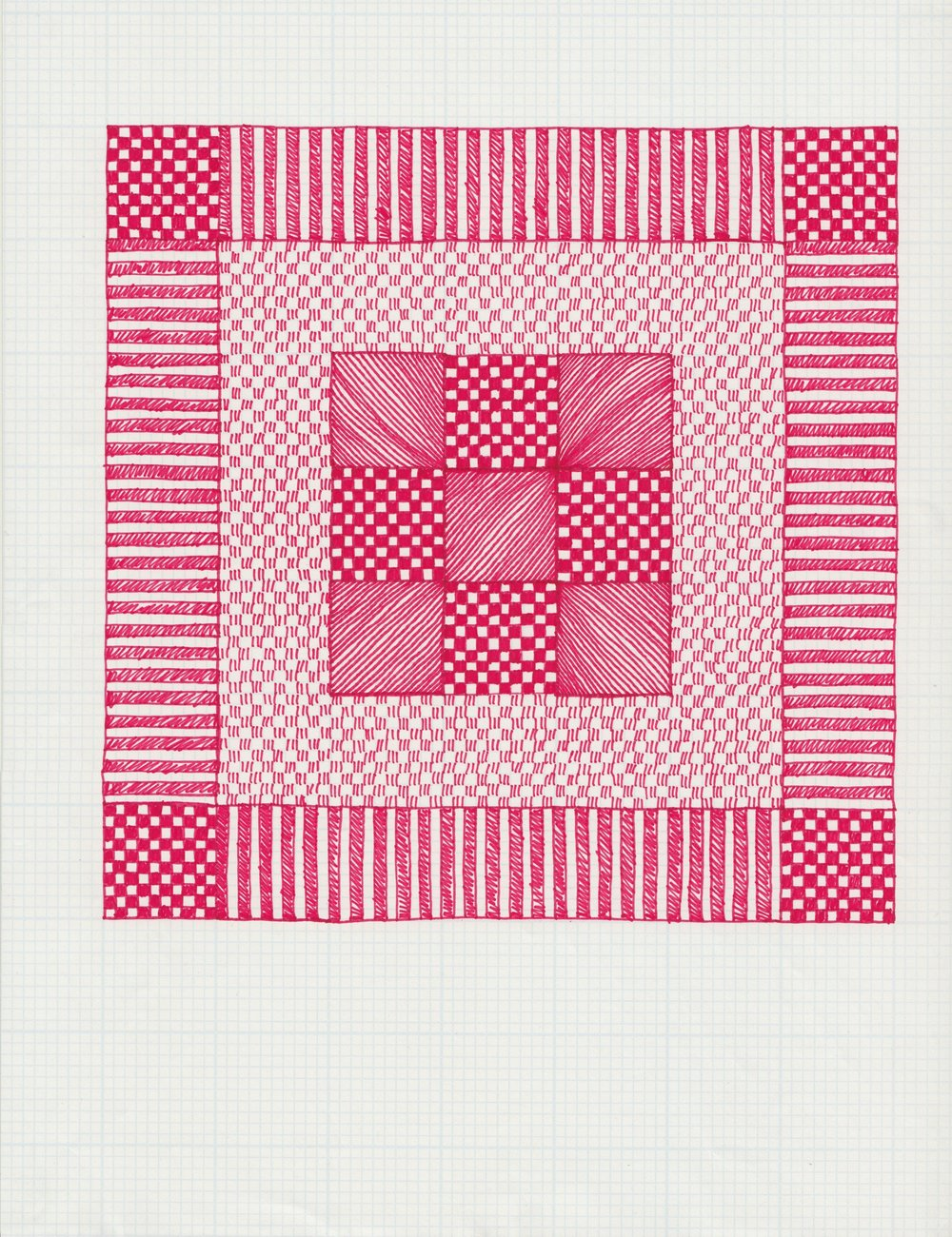 Pen and ink on graph paper, 8.5 x 11 IN, 2016