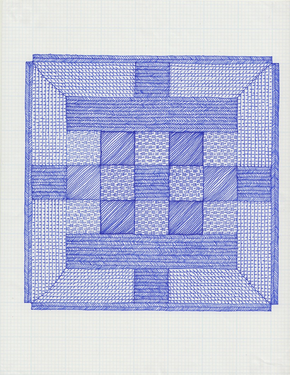 2016, Pen on graph paper, 8.5 x 11 inches