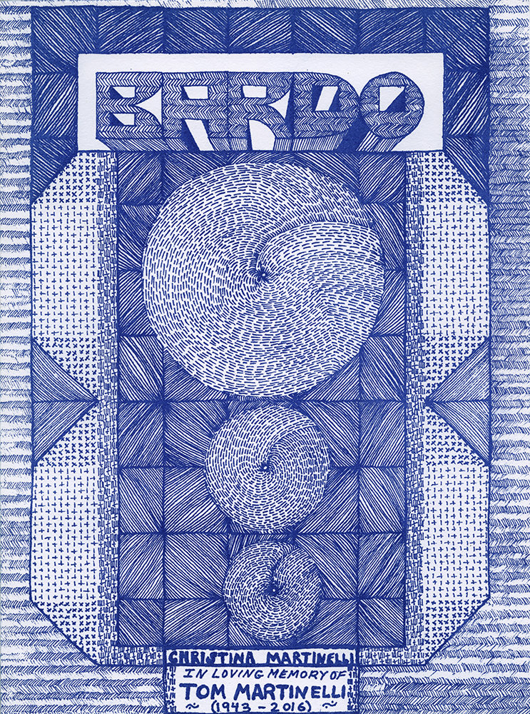 Bardo, Christina Martinelli, 2016, Published by Potatoe Press, New York, NY, Edition of 100, French fold, Risograph printed at Soft City Printing, Available at Printed Matter, Inc. and the Good Press, Glasgow.