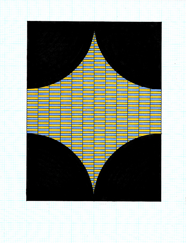 Pen and ink on graph paper, 2017, 11 x 8.5 inches