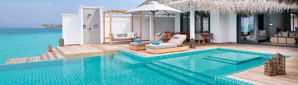 Finolhu's decadent 2-bedroom villa.