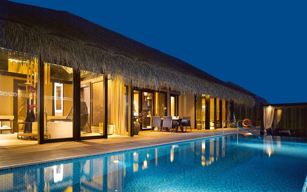 The Sunset Deluxe Water Villa at Velaa Private Island comes with its own pool - one of the largest in the Maldives.