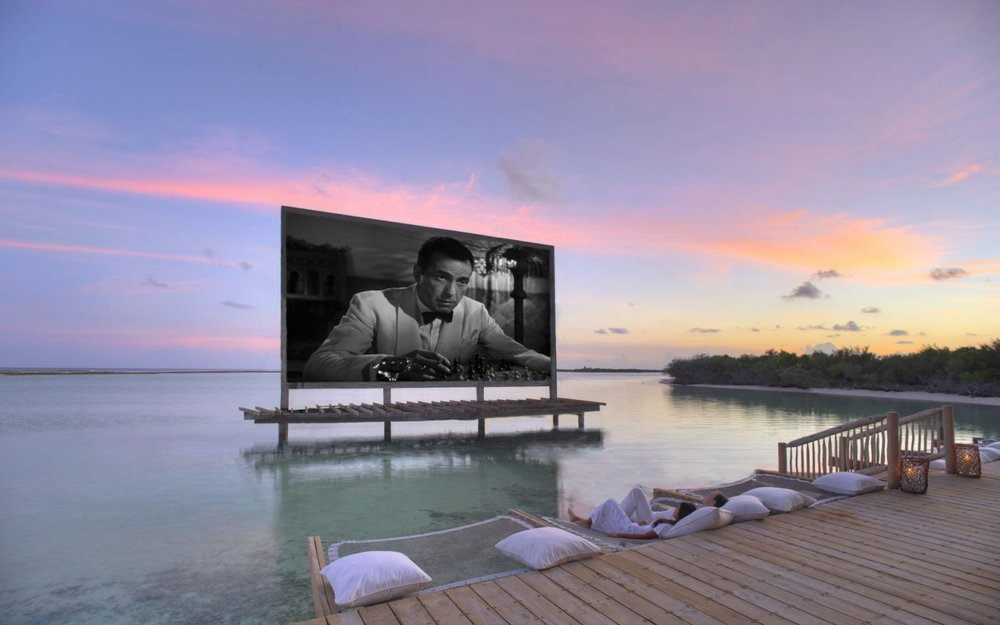Enjoy a film by the water at Soneva Jani's aptly named Cinema Paradiso.