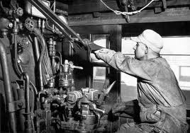 Engineer working on a steam train