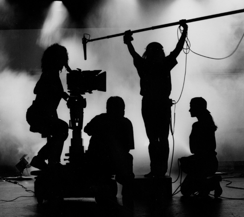 Film makers in sillouhette