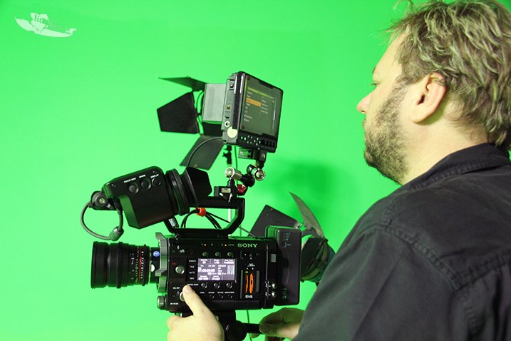 Mick with Sony F55 Shooting Green Screen
