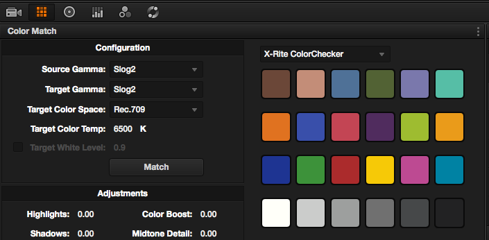 Colour match settings