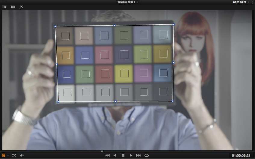 Using the Colur chart feature in resolve