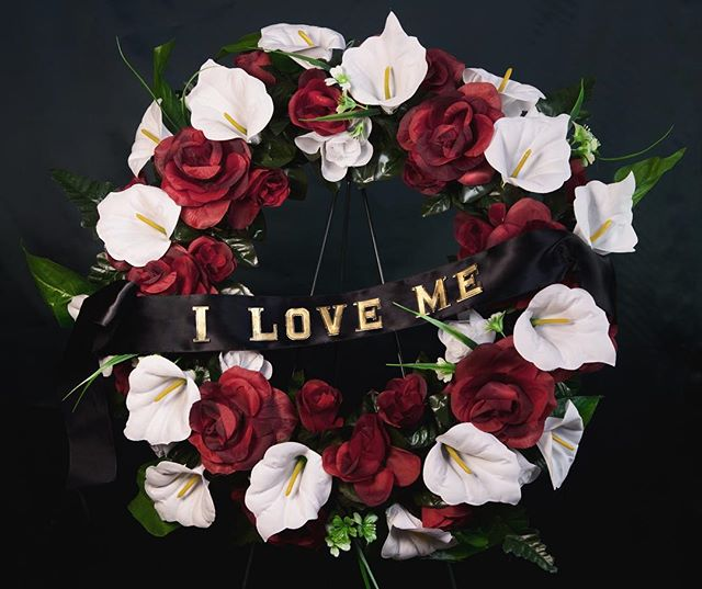 Whatever Valentine's Day means to you...remember what matters most #selflove. . . . . . . #valentinesday #art #photography #loveyourself #iloveme #funeralwreath #alexpulec #genevieveblais