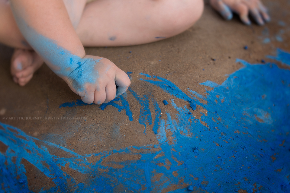 """""""Birthday Blues"""" I am a firm believer that you have to let them be little while they are little. Piper celebrated her 3rd birthday playing in the water, making mud and painting the entire sidewalk (and herself) blue. . . and I couldn't have asked for a better day."""