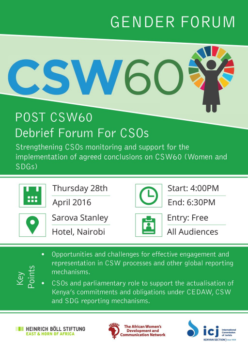 CSOs Reflections On CSW60     Strengthening CSOs monitoring and support for the implementation of agreed conclusions on CSW60 (Women and SDGs)