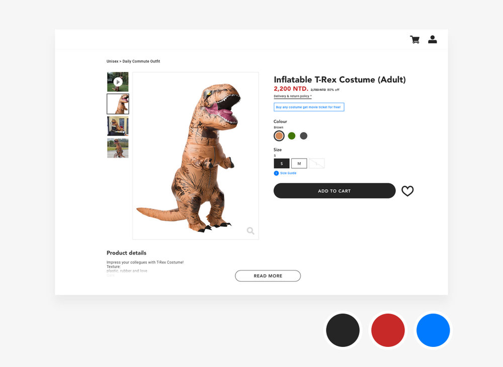 Daily UI #12 Ecommerce page