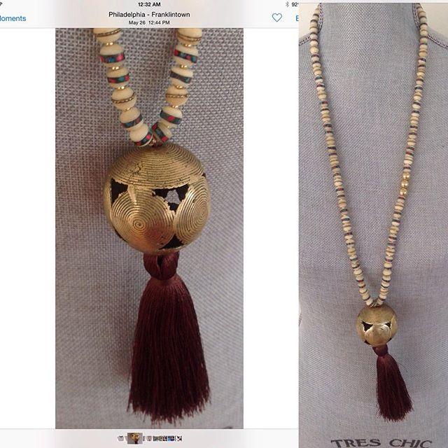 Very organic Musso necklace with vintage Huge African bead www. mussojewelry.com also#joanshepp#naturelover#organic#oneofthekind#handcraftedjewelry#elegant#cotedivoire#love#mussolovejewelry#💋
