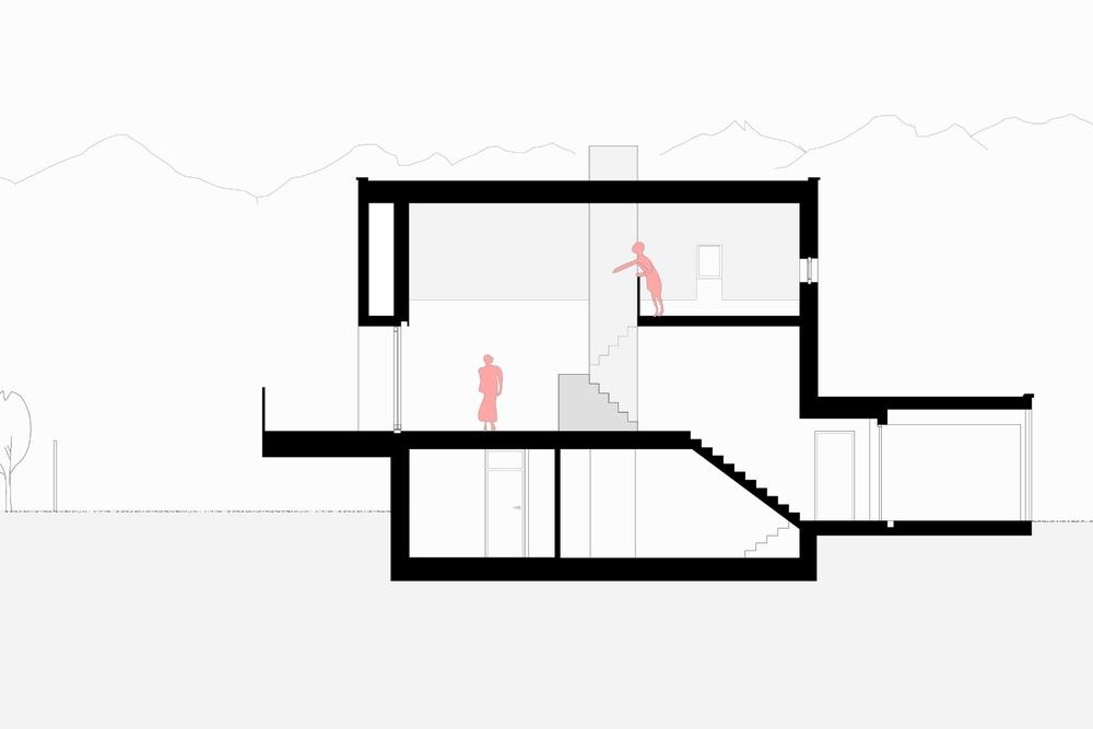 Imst Einfamilienhaus Neubau Längsschnitt