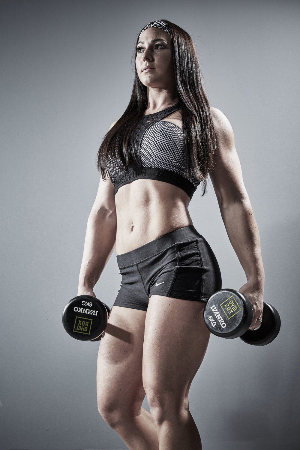 Sports & Fitness Commercial Portraits Gym Box Personal Trainer Model Weights