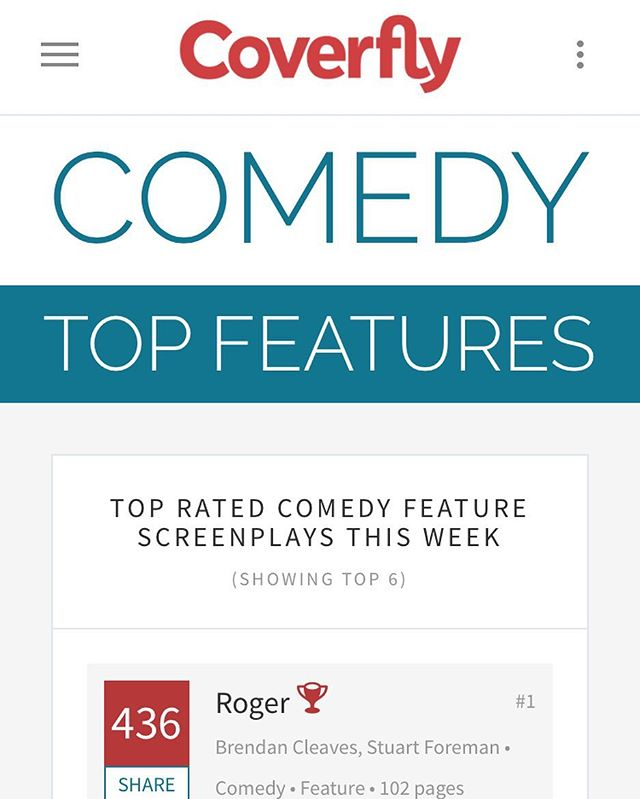 The feature film script for Roger is top of this weeks Red List comedy category! #featurefilm #coverfly #script #comedy #topscript
