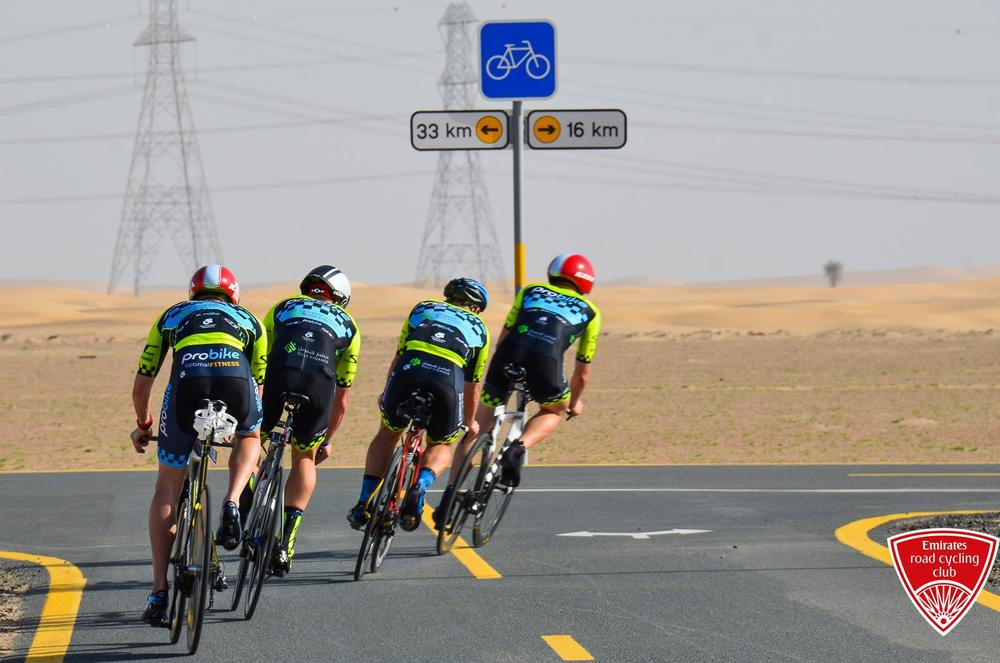 Team Probike Silverback in action in a recent EKRCC Team Time Trial at Al Qudra Cycle Path