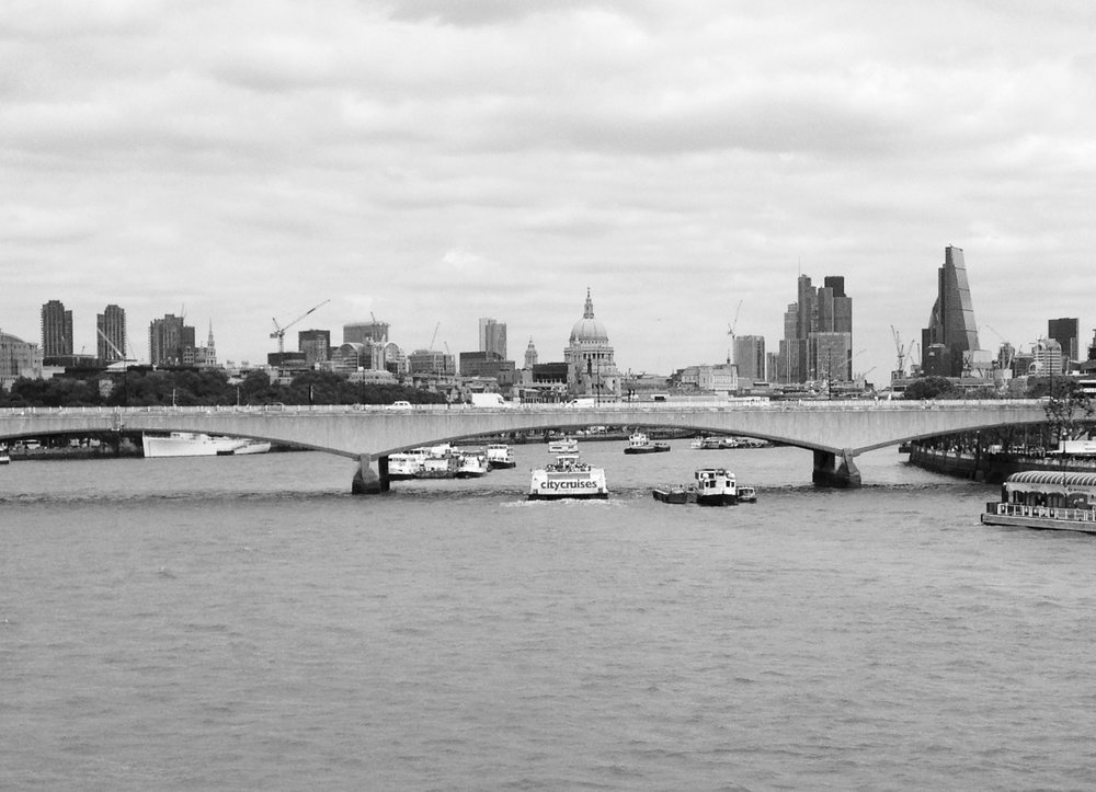 View of the City of London from the bridge.