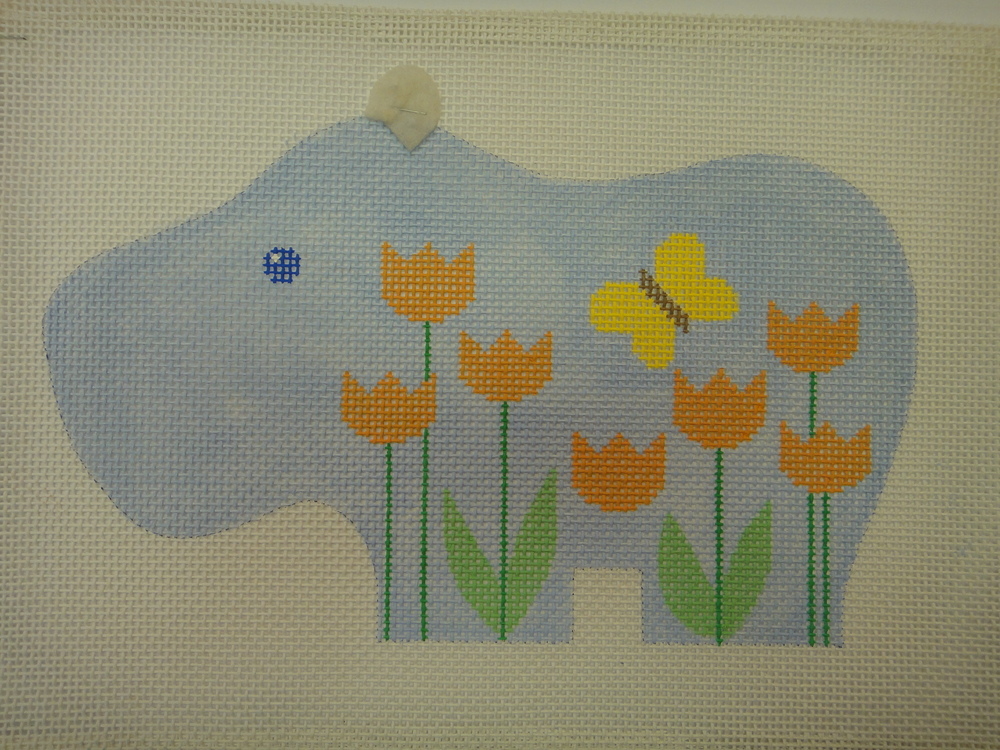 C13A Flowered Animals, Hippo, 10 mesh (12x7.5)