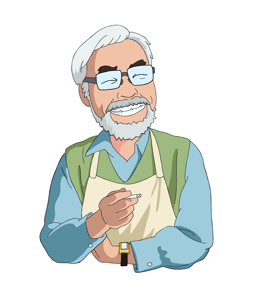 Hayao Miyazaki illustration by the incomparable Hugo Marmugi