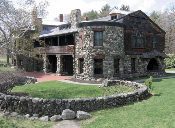 Richardson was inspired by design ideas of many cultures and eras, recasting them in a way that was wholly his own. The broad roof, boulders from old stone walls on this site and the naturally-weathered shingles pay homage to 17th-century New England.