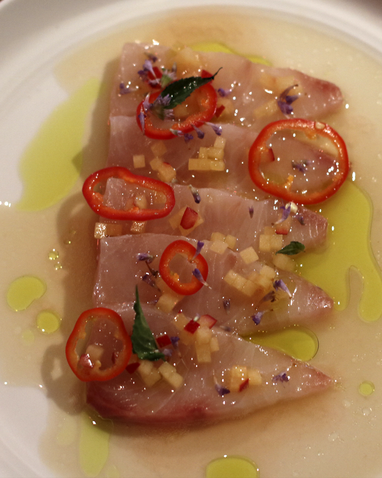 Hiramasa  lemon verbena, plum, pickled fresno, smoked fish sauce