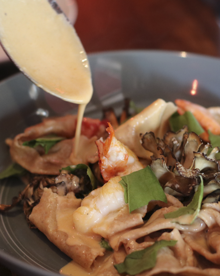 Lobster   Whole wheat hand torn pasta, maitake, sorrel
