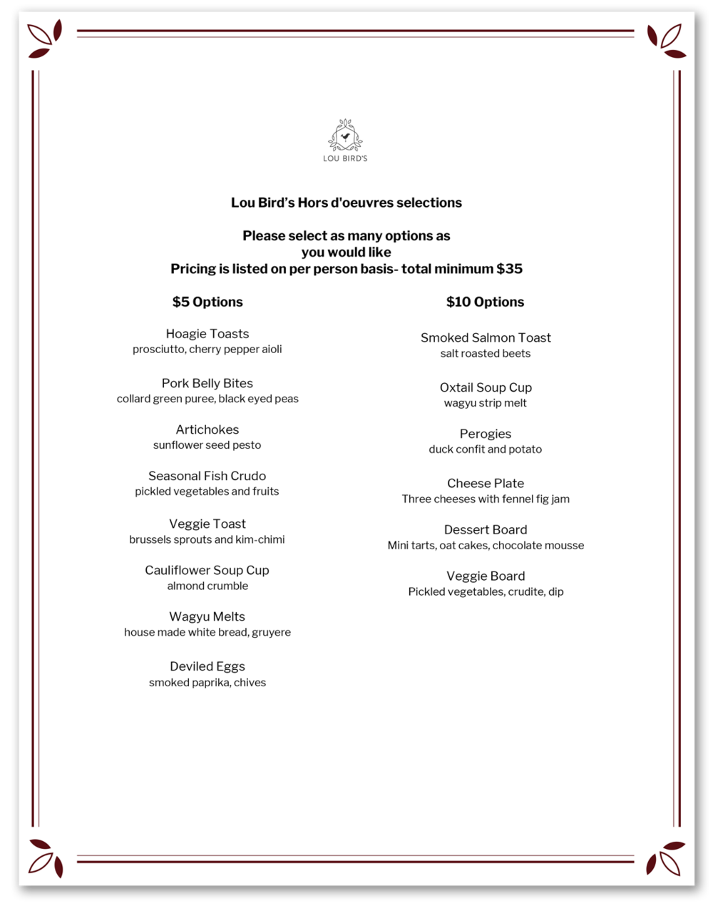 HORS D'OEUVRES   MENU  . Click to download menu