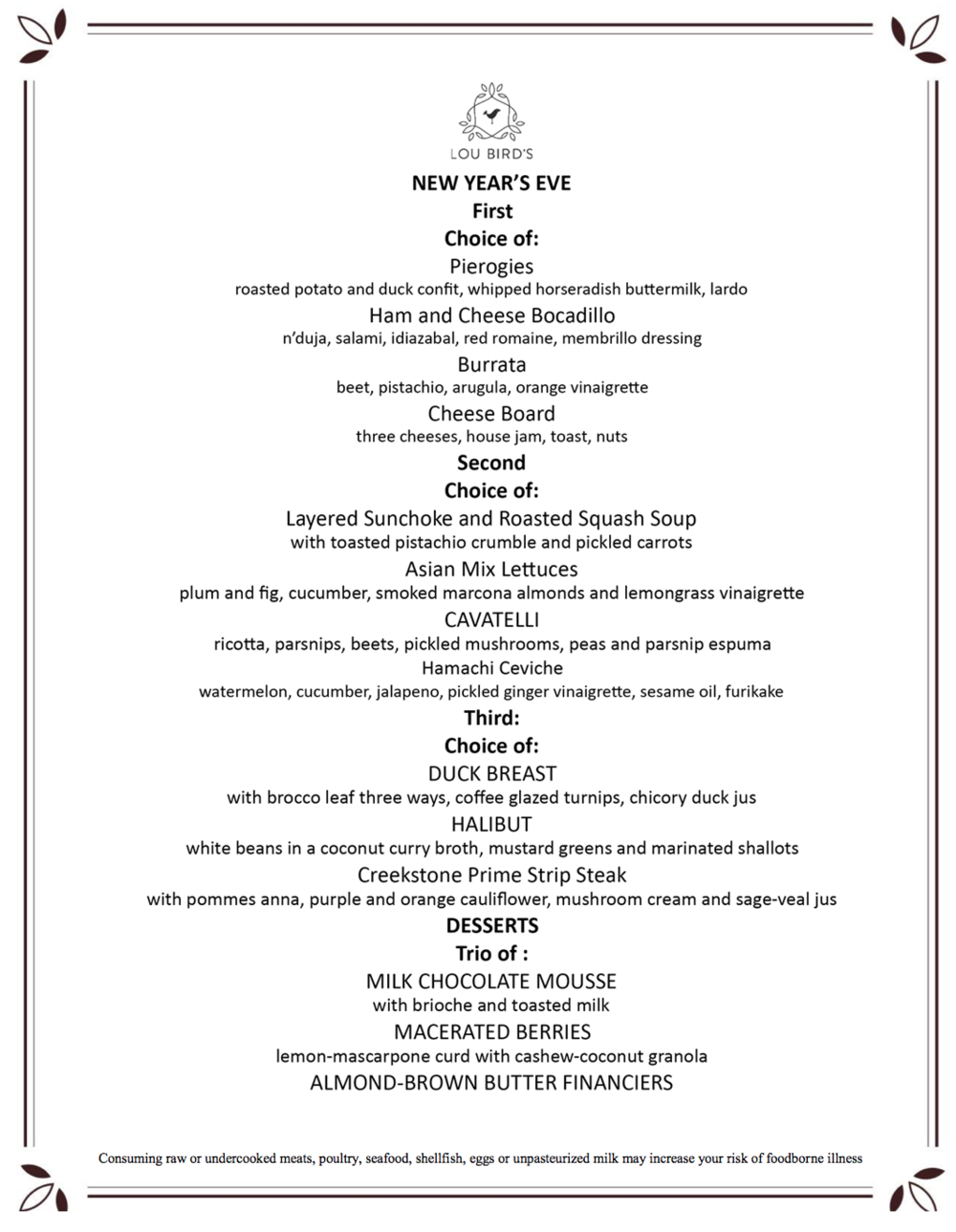 2018 NEW YEARS EVE MENU   |  Click graphic to download a PDF of the menu