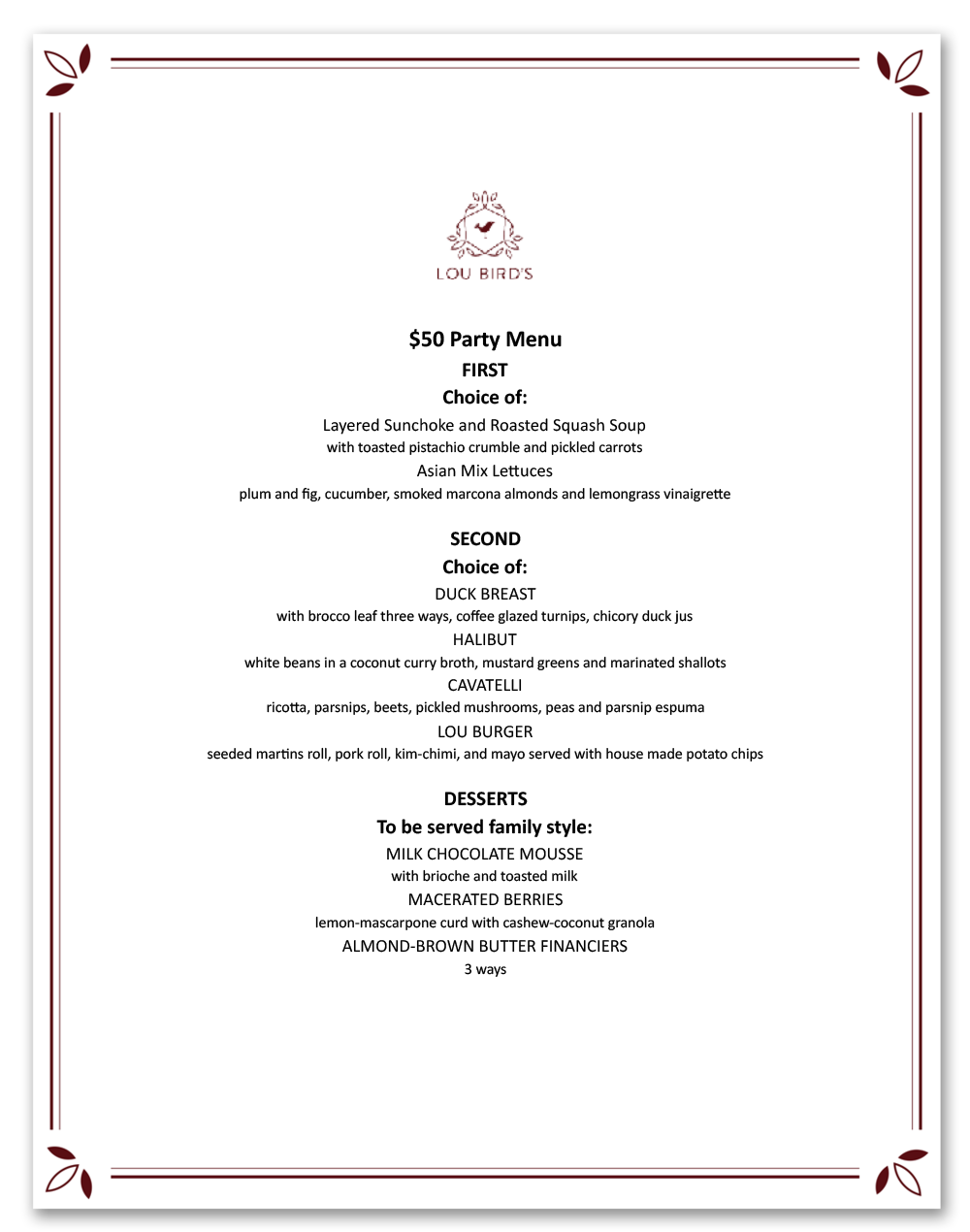 $50 PARTY MENU. Click to download menu