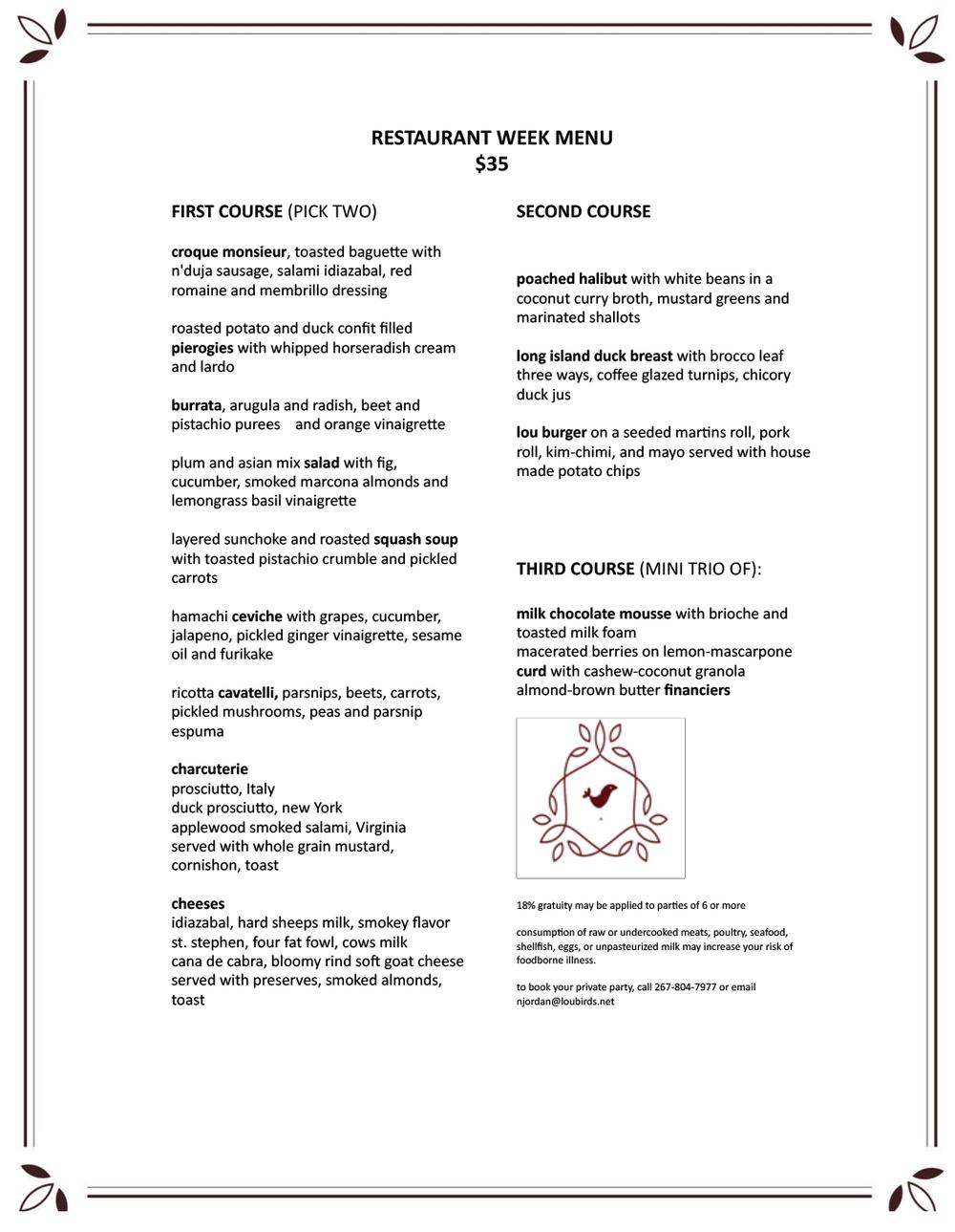 2018 Restaurant Week MENU  | Click graphic to download a PDF of the menu