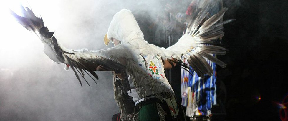 Ty Defoe performs a traditional two-spirit dance