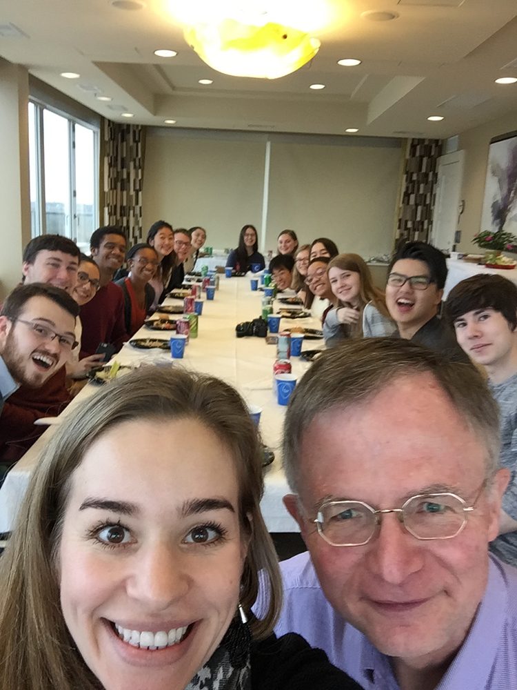 Communication Residential College (CRC) students enjoy a Thanksgiving meal with faculty chair Roger Boye