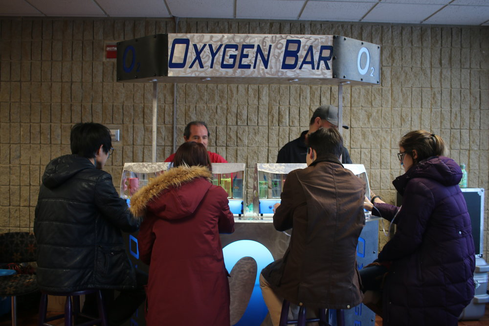 Students enjoy last year's Oxygen Bar, featured again this year.