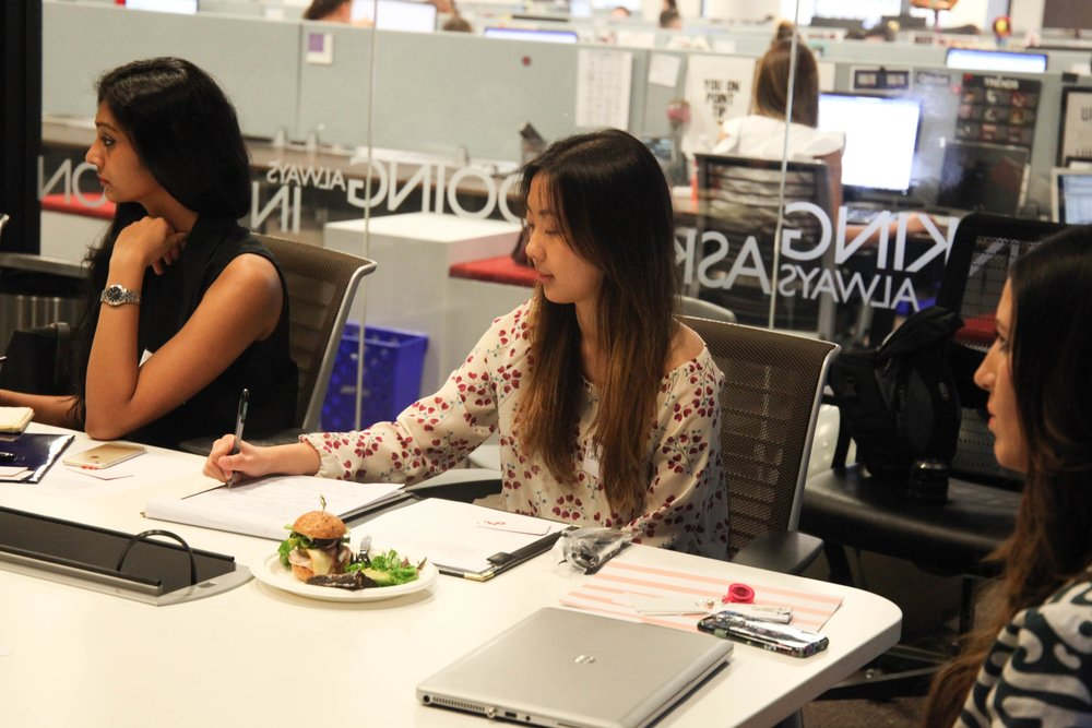 Junior Catherine Kang takes notes during her externship at omnicom MEdia Group in downtown Chicago.