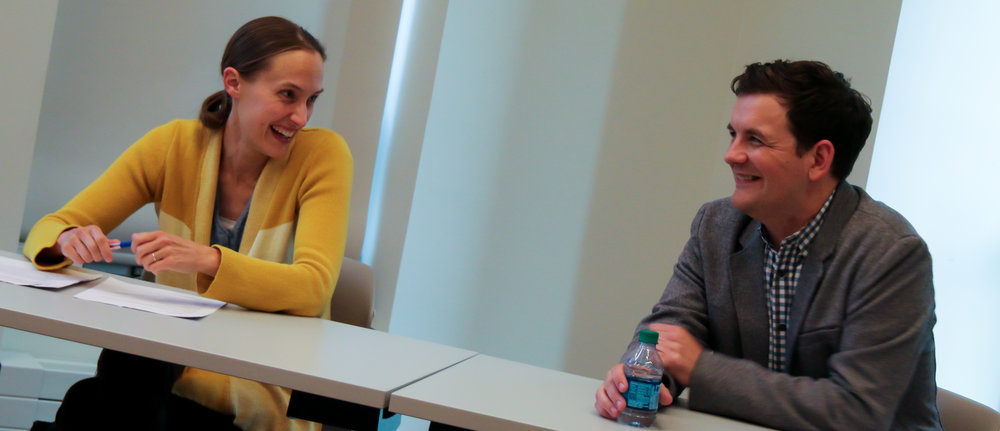 Caitlin Fitz (l) and John haas (r) answer questions from students