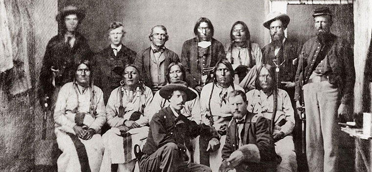 A meeting between the US military and leaders of the Arapaho and Cheyenne tribes, just a few months prior to the Sand Creek Massacre