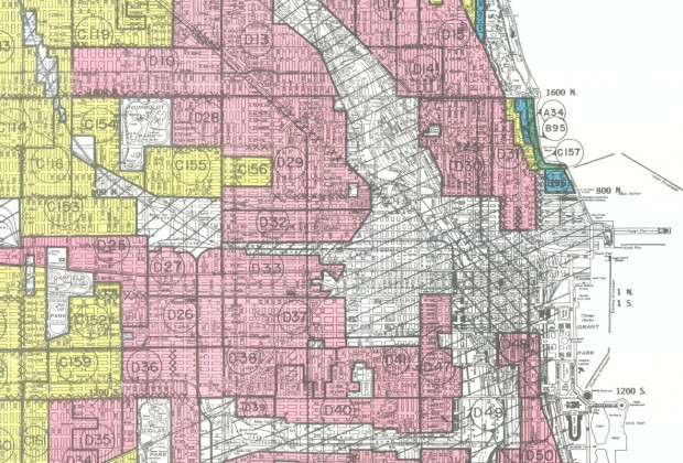 """Inside Chicago"" explores the racist effects of ""redlining"" in Chicago neighborhoods, illustrated on this mid-century map."