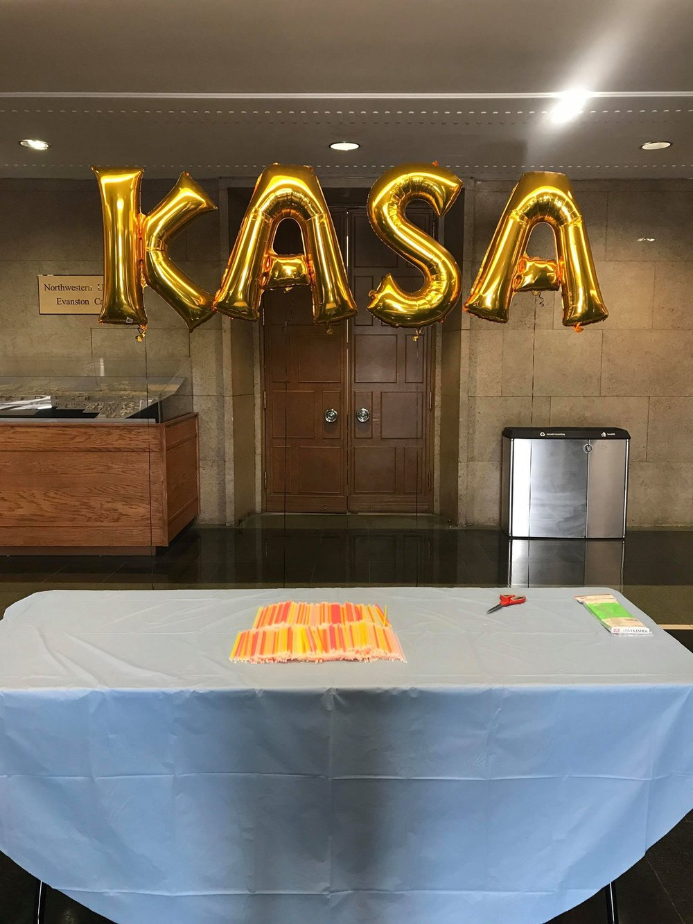 The annual gold balloons outside Ryan Auditorium for KASA Show.