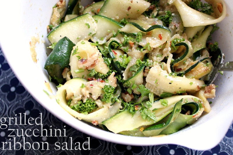 grilled zucchini ribbon salad