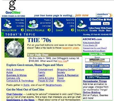Typical Geocities website from 1999. We weren't mature then, but we were learning.