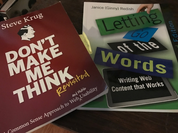 The two books every person with responsibility for a website needs:  Don't Make Me Think, A Common Sense Approach to Web and Mobile Usability  by Steve Krug, and  Letting Go of the Words, Writing Web Content that Works  by Janice (Ginny) Redish.