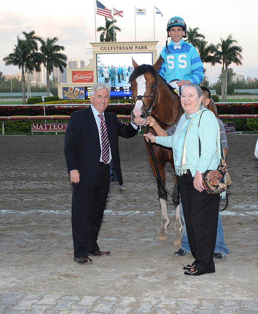 Tom Bush with Get Stormy after winning the g1 gulfstream park handicap