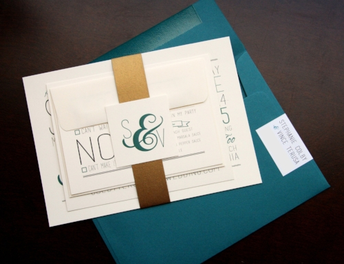 Ampersand wedding invitation, teal and gold wedding invitation, Lola Lee Invitations, Phoenix wedding invitations