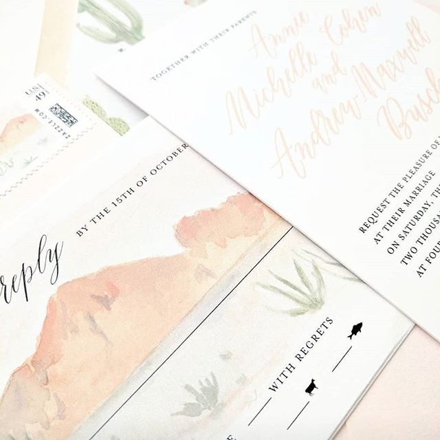 I love when couples take the beauty of Arizona and want to include it in their wedding stationery! . Planning @somelikeitclassic  Watercolor @laurieanneart  Venue @pvcc_official . #desertwedding #outdoorwedding #azweddings #phoenixwedding #scottsdalewedding #camelbackmountain #dailydoseofcolor #dailydoseofpaper #watercolorinvitation #bespokeinvitations #weddinginvites #blushwedding #somelikeitclassic #pvcc #weddingdayinspiration #rsvp