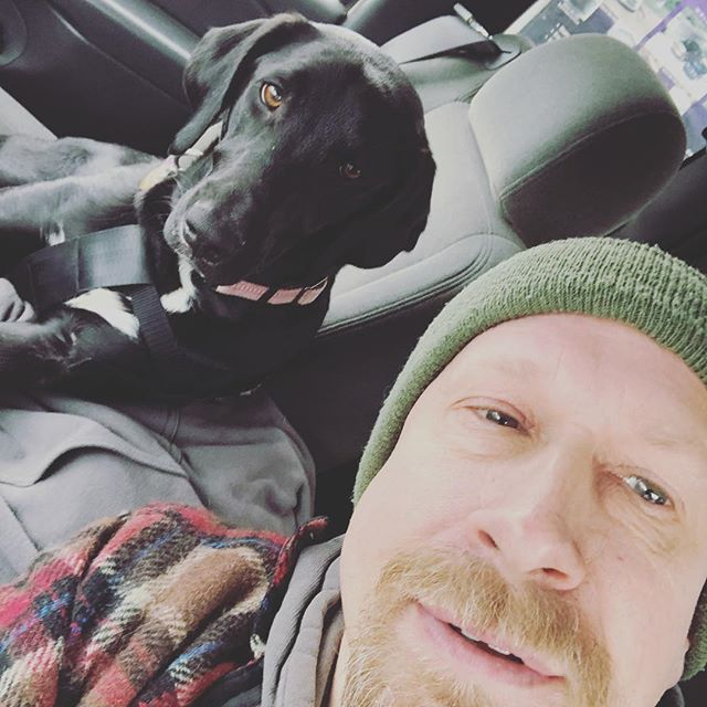 Heading out on an adventure! (To get some lumber haha) #blacklabmix #sidekick #lumberrun #woodworking #truck #project #projecttime #woodworkers #creative #makingshit #labmix #adventurebuddy